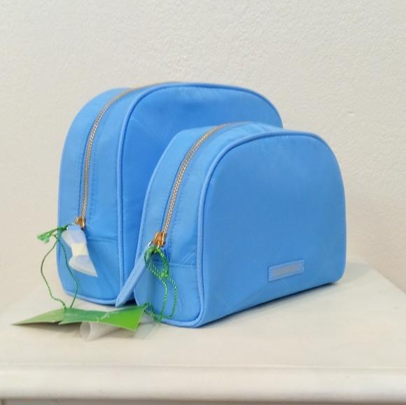 7d7963856027 2 pc SET Cosmetic Vera Bradley Preppy Poly blue NWT